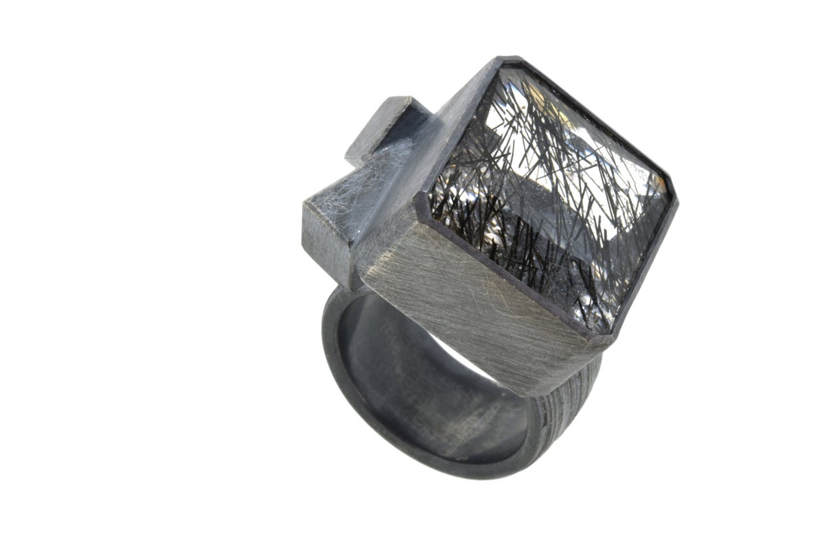 Contemporary Cocktail ring. Tourmaline quartz in oxidised silver by Chris Boland Jewellery