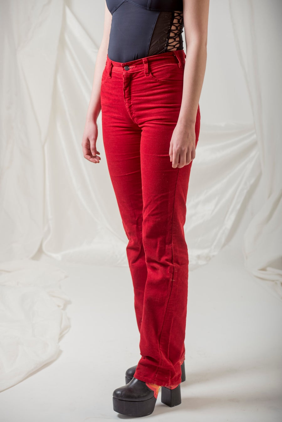 Image of Red Corduroy Flared 'Paddocks' 1970s Jeans