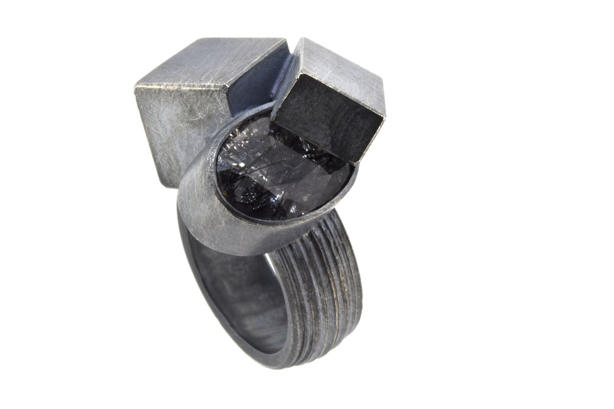Contemporary Cocktail ring. Tourmaline quartz in an oxidised silver