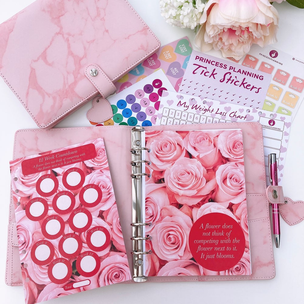 Image of POPPY PINK MARBLE FULLY LOADED FOOD DIARY ORGANISER- BE GENTLE WITH YOURSELF