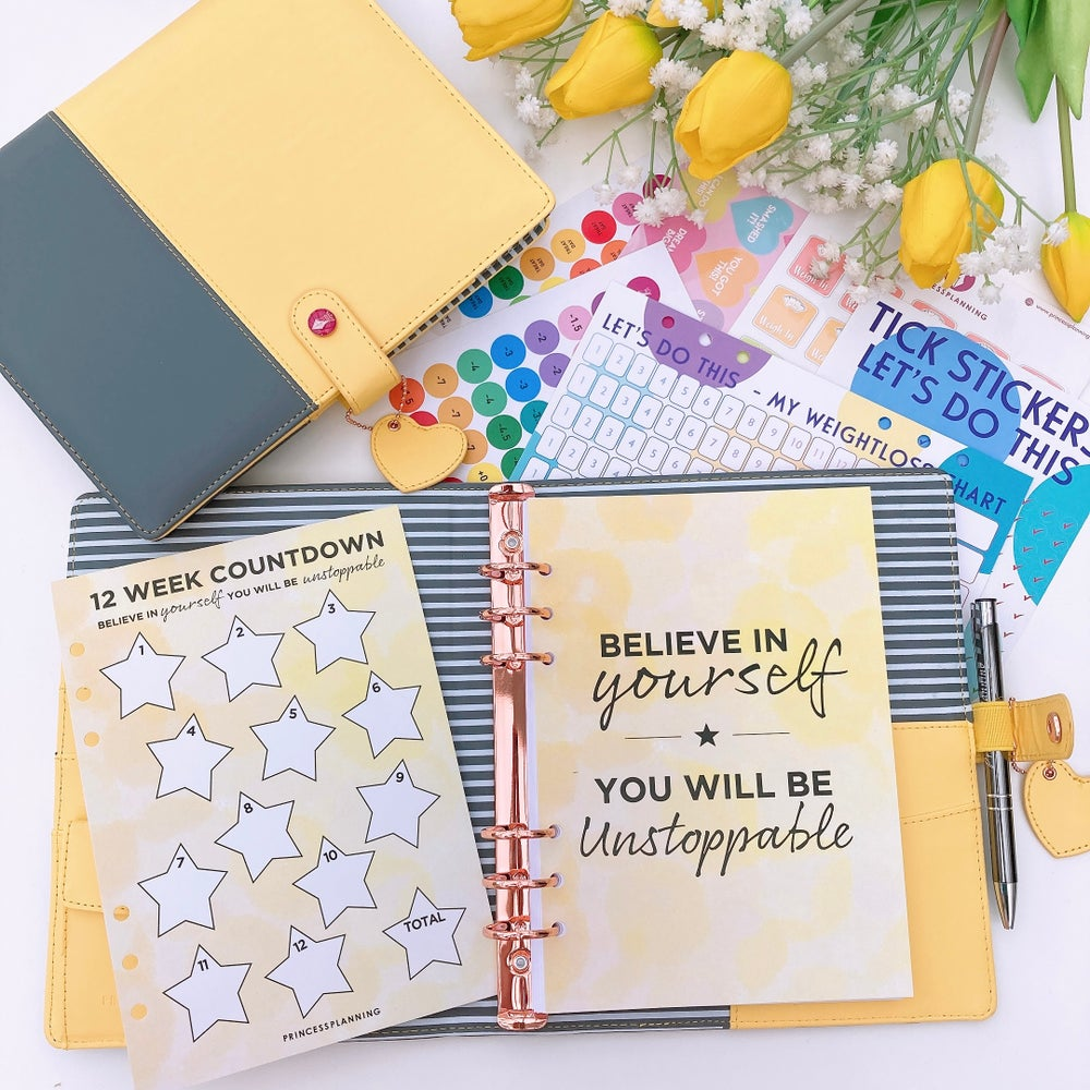 Image of GRANDE PLANNER -TWO TONE SALLY SUNSHINE  YELLOW  FOOD DIARY BUNDLE - BELIEVE IN YOURSELF