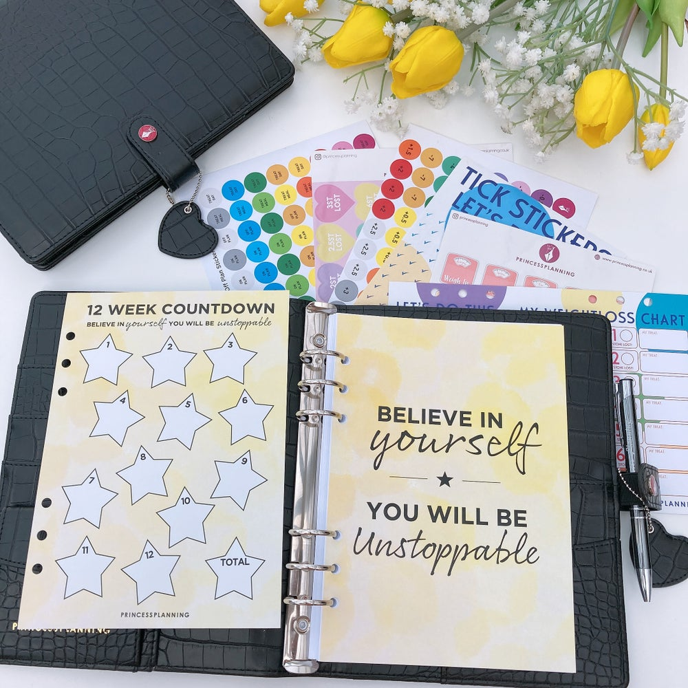 Image of BRITTANY  BLACK CROCO FULLY LOADED FOOD DIARY ORGANISER