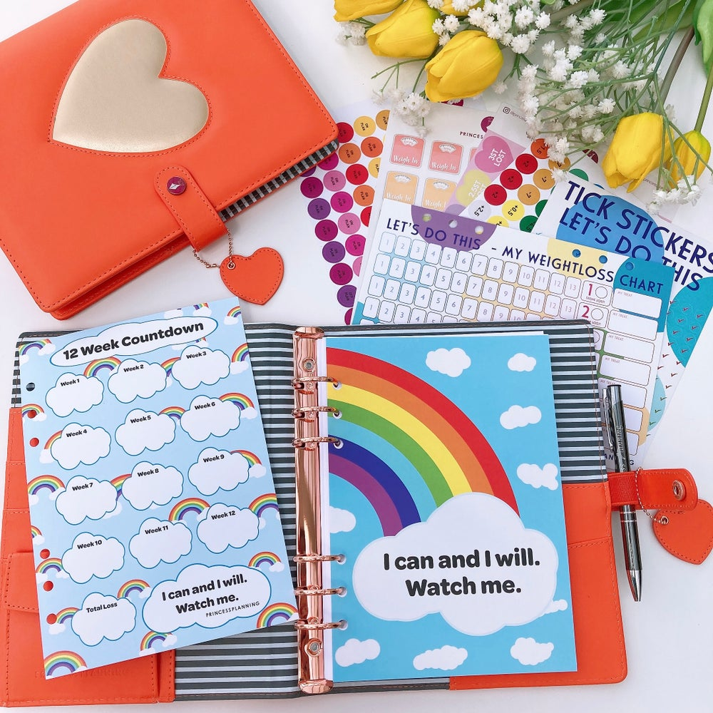 Image of GRANDE PLANNER HEART OF GOLD ORANGE FULLY LOADED FOOD DIARY BUNDLE I CAN & I WILL