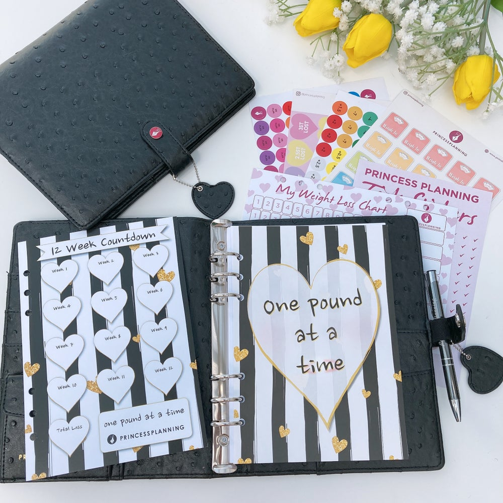 Image of BROOKE BLACK OSTRICH FULLY LOADED FOOD DIARY ORGANISER ONE POUND AT A TIME