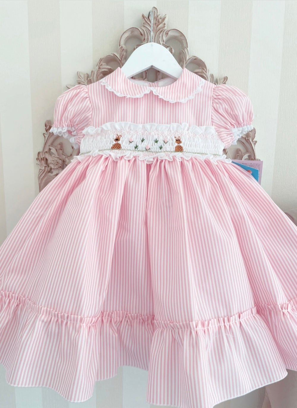 Image of Sonata pin stripe bunny dress