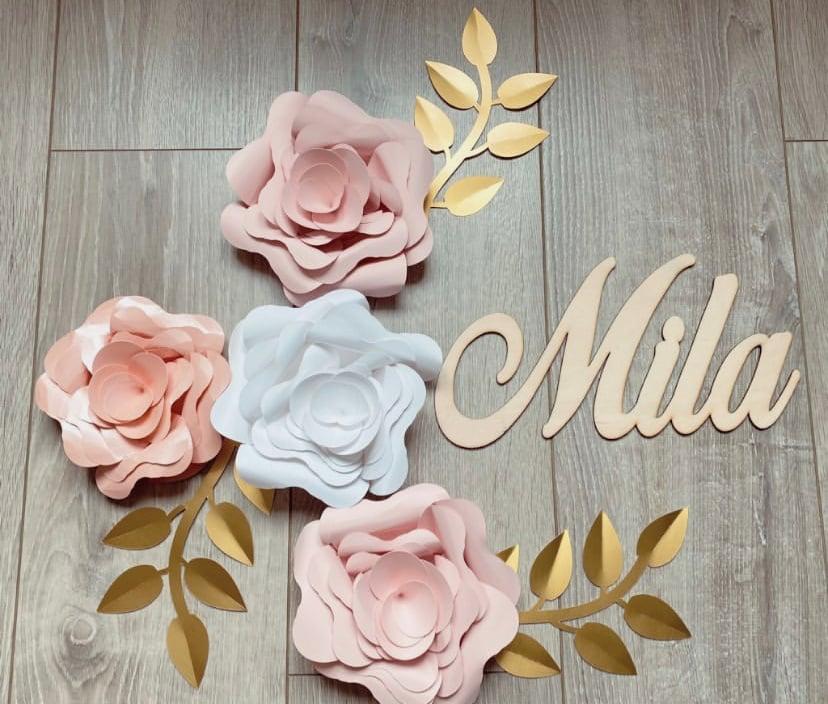 Image of Commande spéciale 4 fleurs papier Mélya