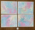 Shades of Pink & Blue Marbled Notecards