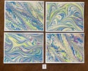 Blue & Lime Nonpareil Swirls Marbled Notecards