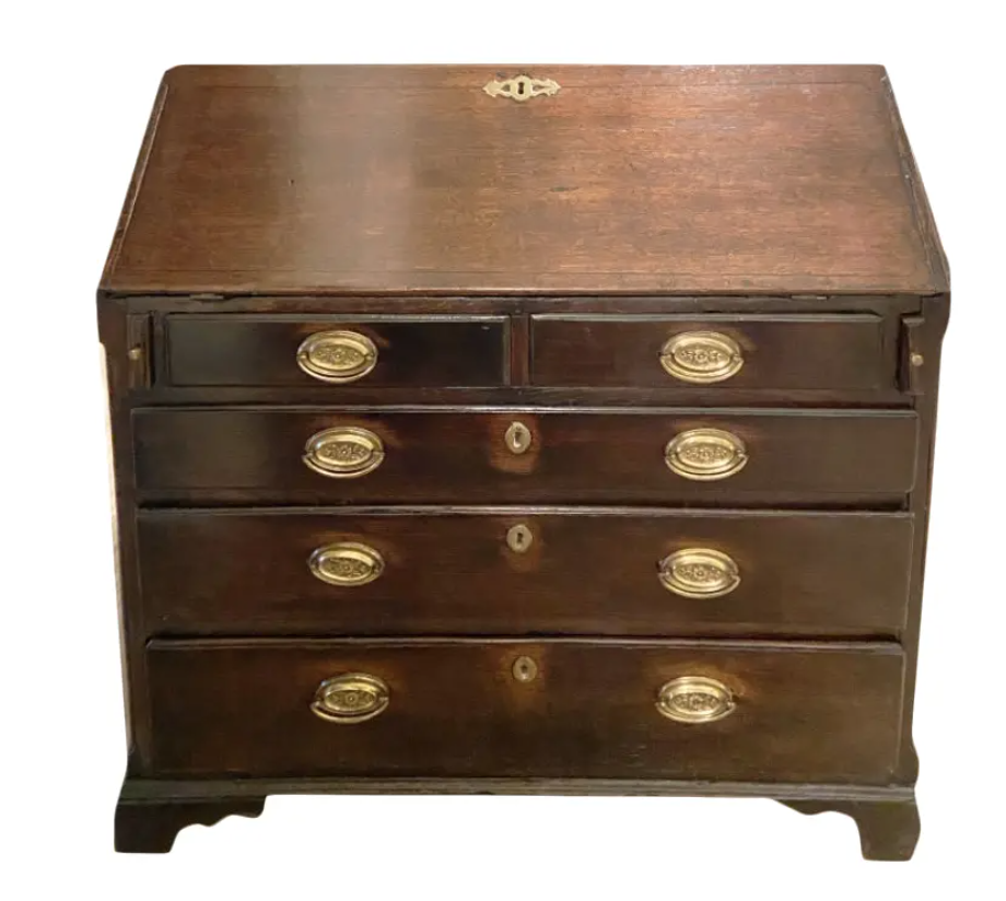 Image of Early 19th Century English Oak Slant Top Secretaire