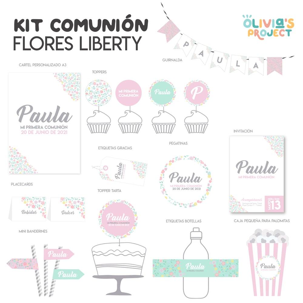 Image of Kit de Comunión Flores Liberty Impreso