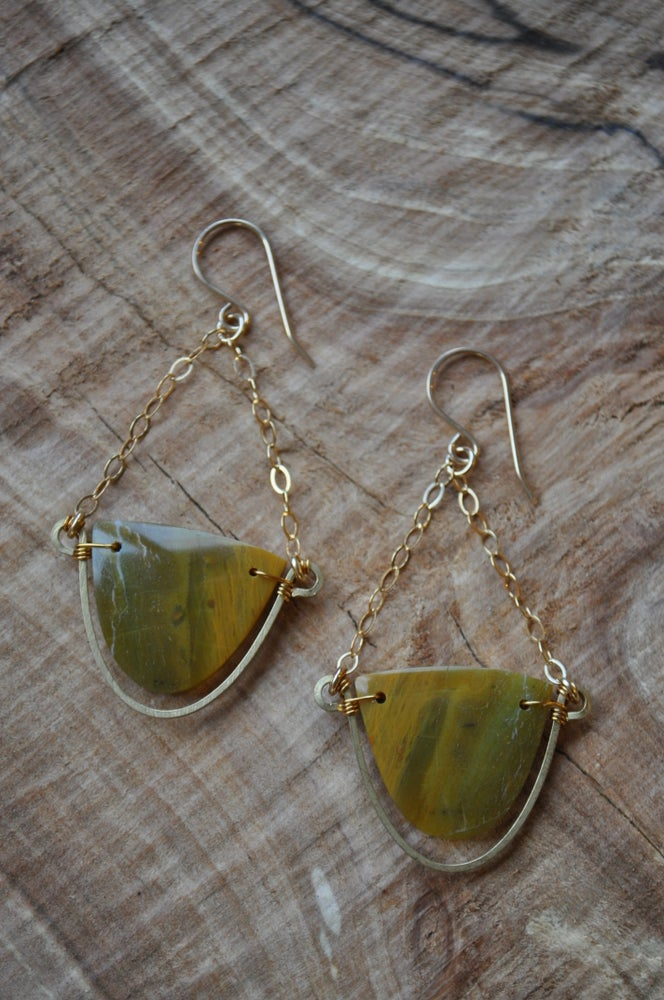 Image of One of a Kind Yellow Opal Dangles - Half Ovals