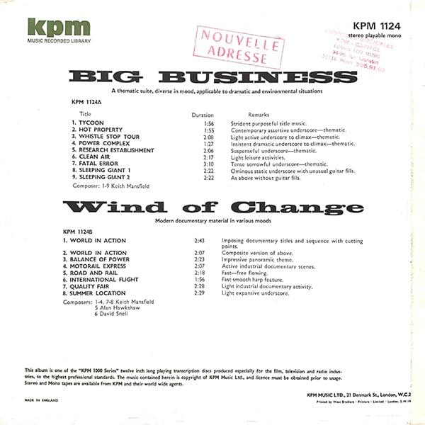 Keith Mansfield / Alan Hawkshaw / David Snell - Big Business / Wind Of Change (KPM 1124 - UK)
