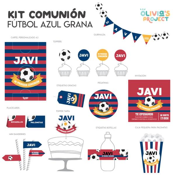 Image of Kit de Comunión Fútbol Azul Grana Impreso