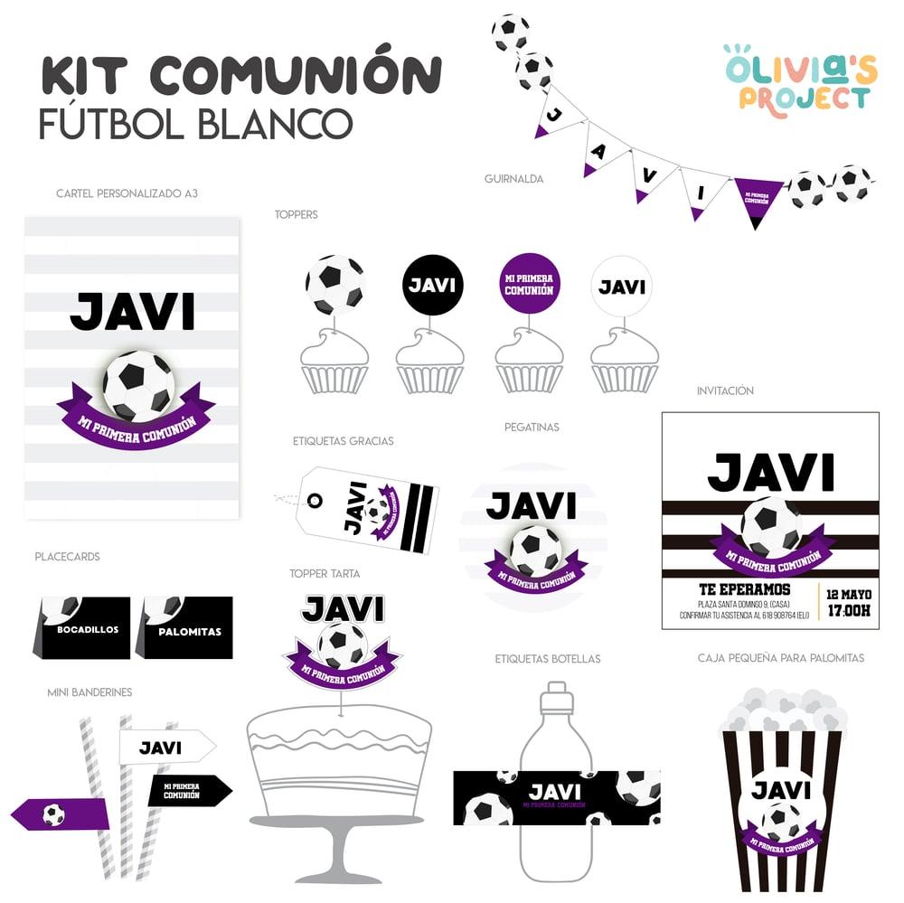 Image of Kit de Comunión Fútbol Blanco Impreso