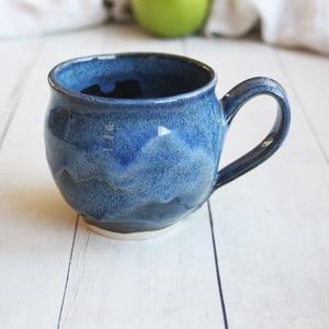 Image of Handmade Mug in Deep Blue Glazes, 14 ounce Pottery Coffee Cup, Made in USA