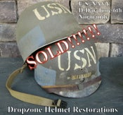 Image of WWII M1 USN (U.S. Navy) Helmet & Westinghouse Liner McCord Fixed Bale Normandy.