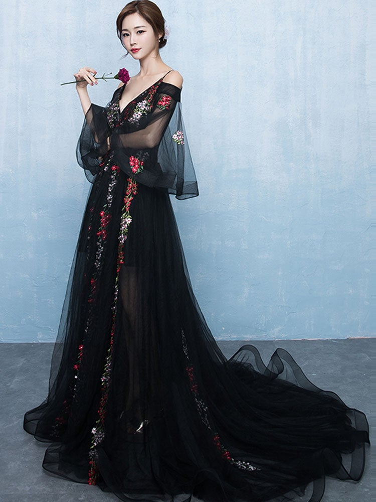 Elegant Black Lace Floral Tulle Off Shoulder Long Formal Dress, Black Evening Dress Prom Dress