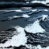Wave Project Contemplation print - surfer watching big waves with seagulls flying in stormy sky