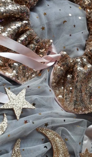 Image of Sequin Ruffle Collar (Rose gold & Soft Pink)