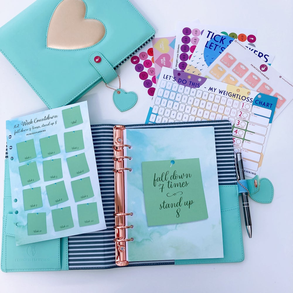 Image of GRANDE PLANNER -HEART OF GOLD MINT FULLY LOADED FOOD DIARY BUNDLE