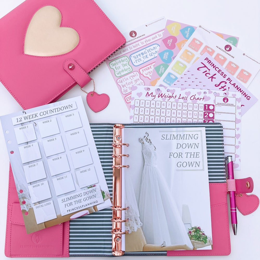 Image of HEART OF GOLD PINK FULLY LOADED WEDDING FOOD DIARY ORGANISER
