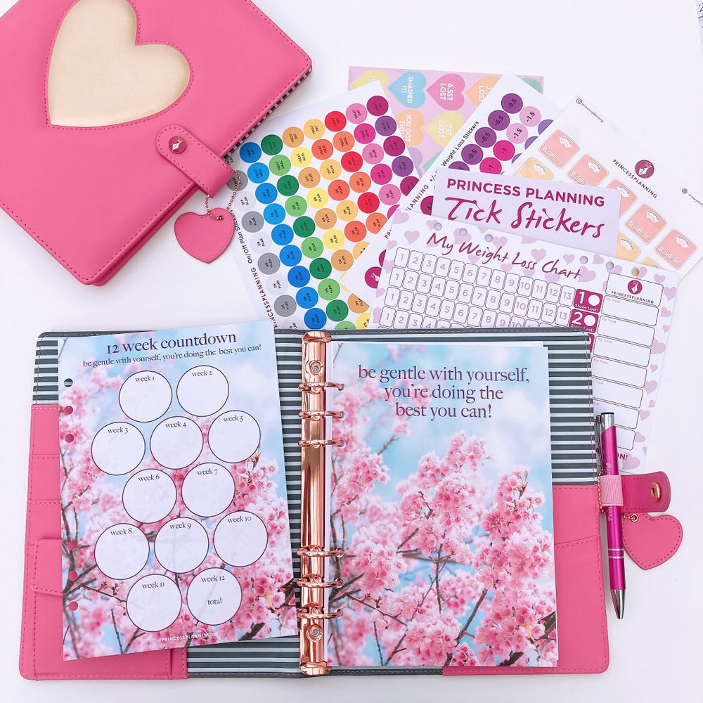 Image of GRANDE PLANNER -HEART OF GOLD PINK FULLY LOADED FOOD DIARY BUNDLE BE GENTLE WITH YOURSELF