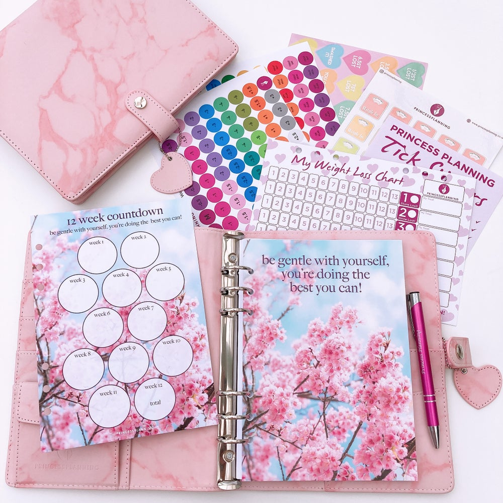 Image of POPPY PINK MARBLE FULLY LOADED FOOD DIARY ORGANISER BUNDLE-BE GENTLR WITH YOURSELF