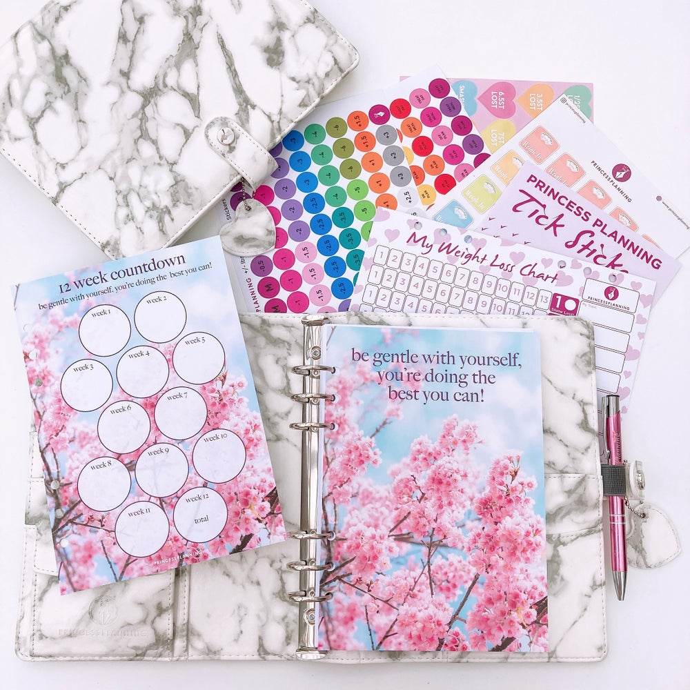 Image of GRANDE PLANNER- GERT GREY MARBLE FULLY LOADED FOOD DIARY BUNDLE-BE GENTLE WITH YOURSELF