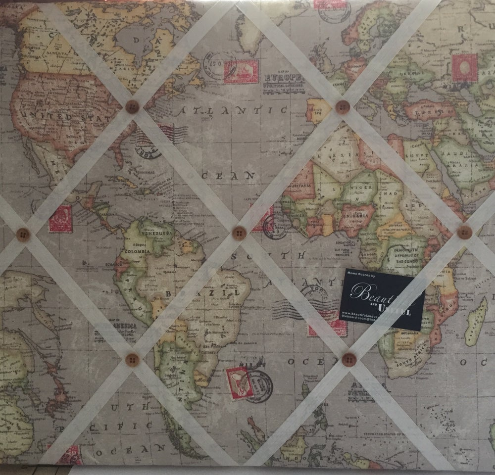Image of World Map fabric covered,LARGE box framed Message/Pin/notice/Memo Board