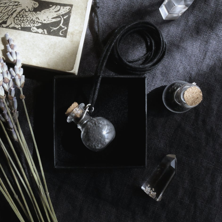 Image of DEA MARICA. BLACK WITCHES SALT TALISMAN ↟ Protection - glass bottle, cork, ethical silver holder