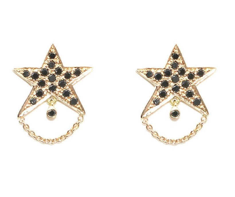 Image of Un Hada 18kt and Black Diamonds Star Studs