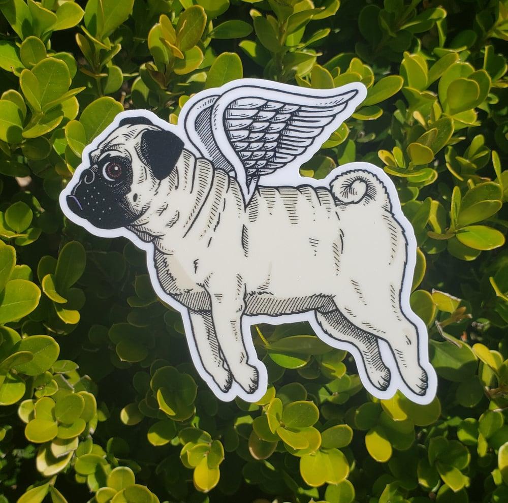"Flying Pug 3"" Vinyl Sticker"
