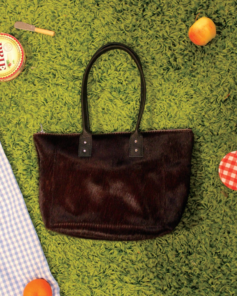 Image of Hairy Cowhide Black Zippered Tote