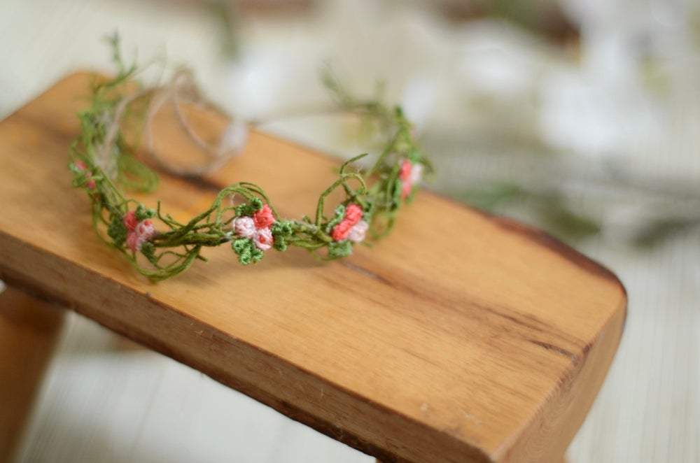 Image of Moss and embroidered flowers halo