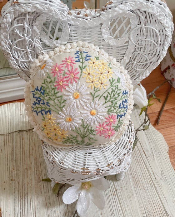 Image of Vintage embroidered pillow