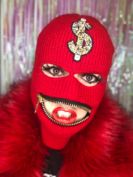 Image of Ski mask with $ sign gold chunky zipper mouth mask