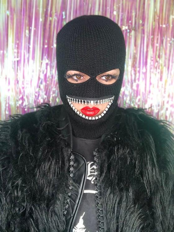 Image of ZEF2DEATH Ski mask w small silver shiny teeth streetwear made in LA