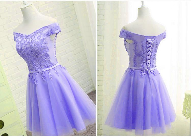 Cute Tulle Sweetheart Purple Short Sleeves Lace Off Shoulder Prom Dress, Purple Homecoming Dre