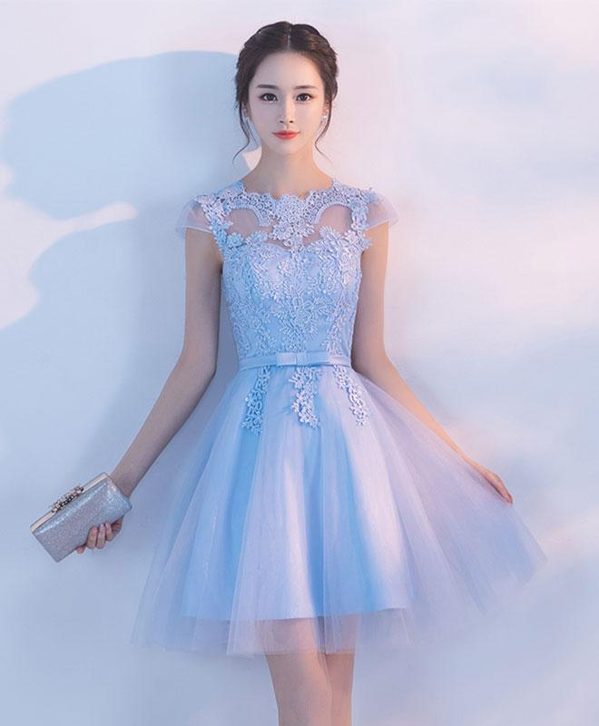 Light Blue Lace Applique Tulle Short Party Dress, Blue Homecoming Dress Prom Dress
