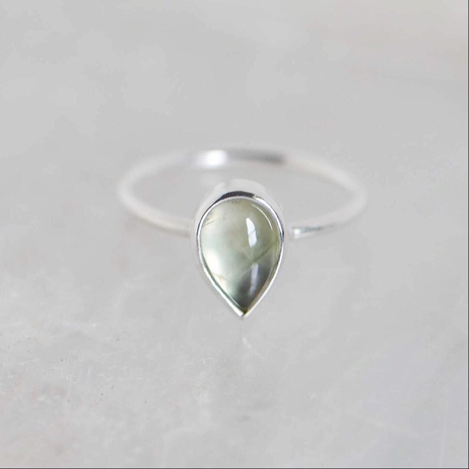 Image of Prehnite cabochon water drop shape classic silver ring