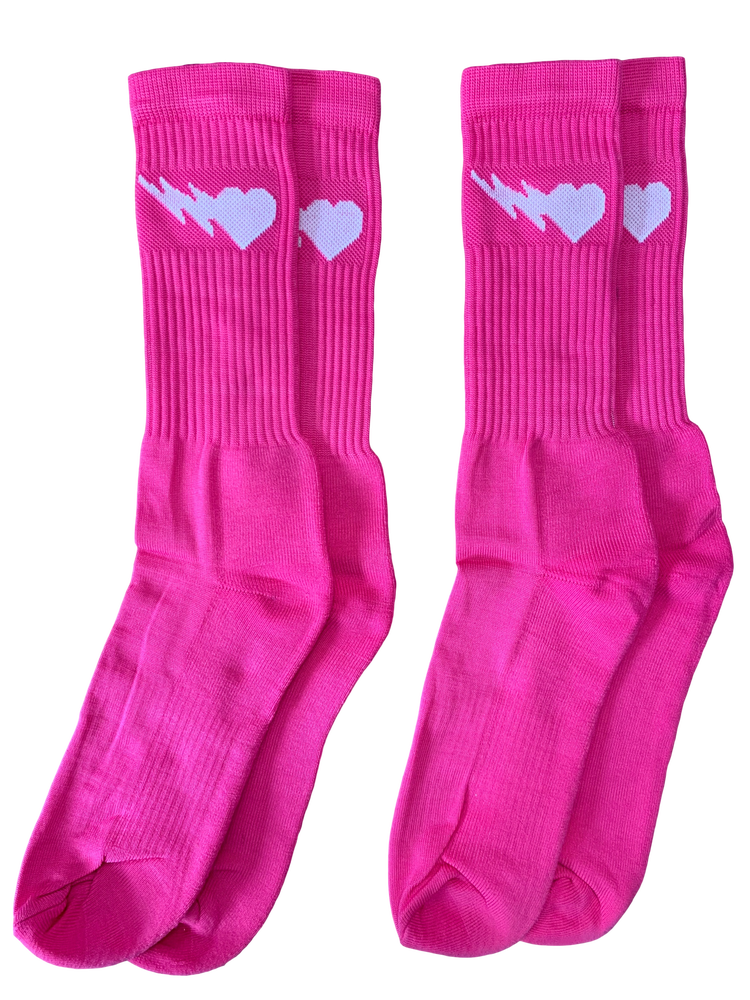 Image of PINK LOGO CREW SOCKS 2-PACK