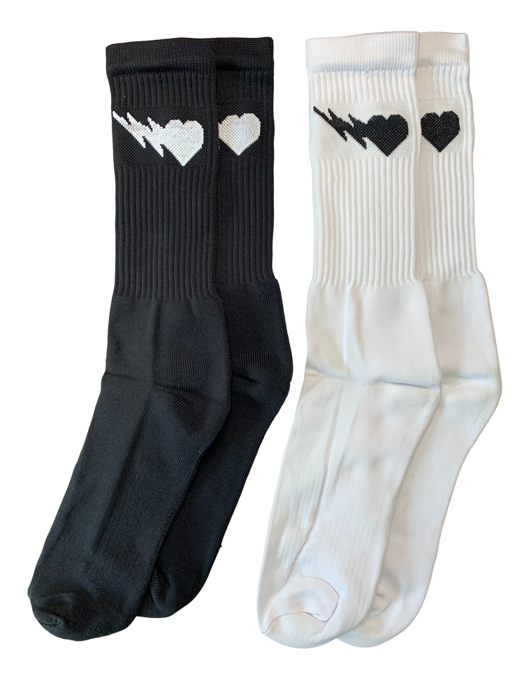 Image of BLACK/WHITE LOGO CREW SOCKS 2-PACK