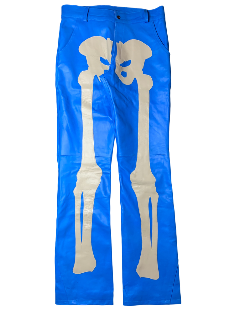 Image of SAPPHIRE BLUE FLARED BONES LEATHER PANTS
