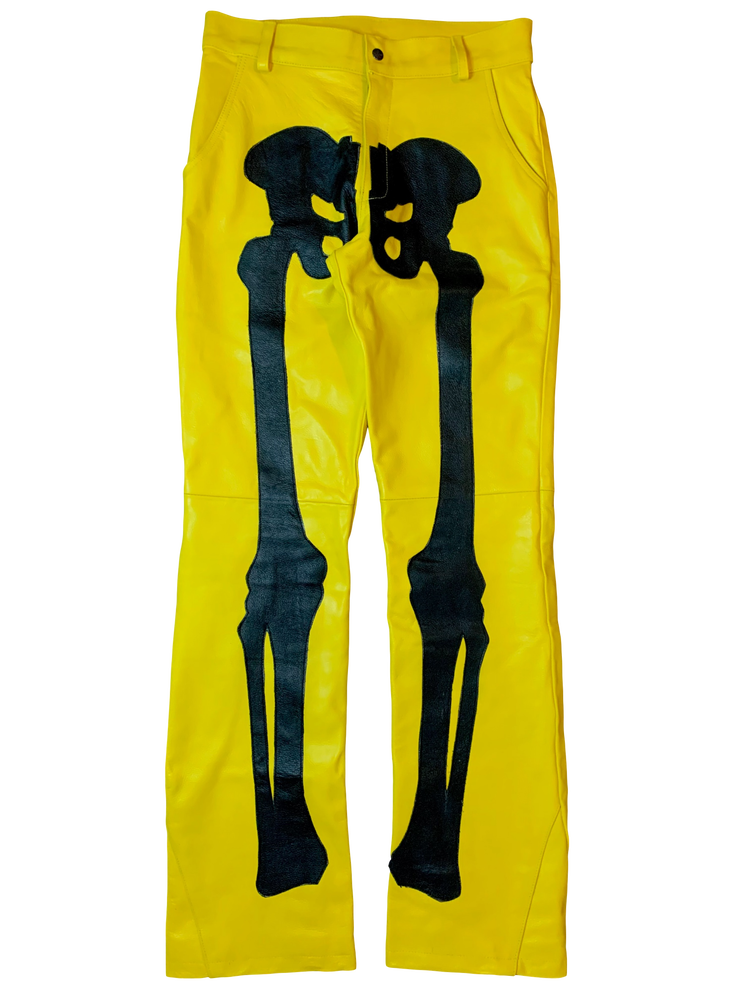 Image of BUMBLEBEE FLARED BONES LEATHER PANTS