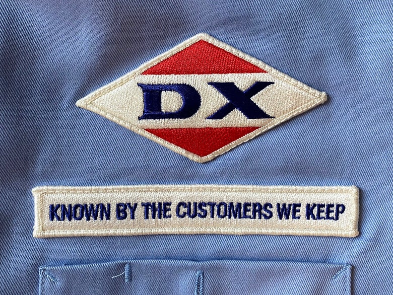Image of Replica Sodapop Curtis and Steve Randle DX gas station attendant's work shirt.