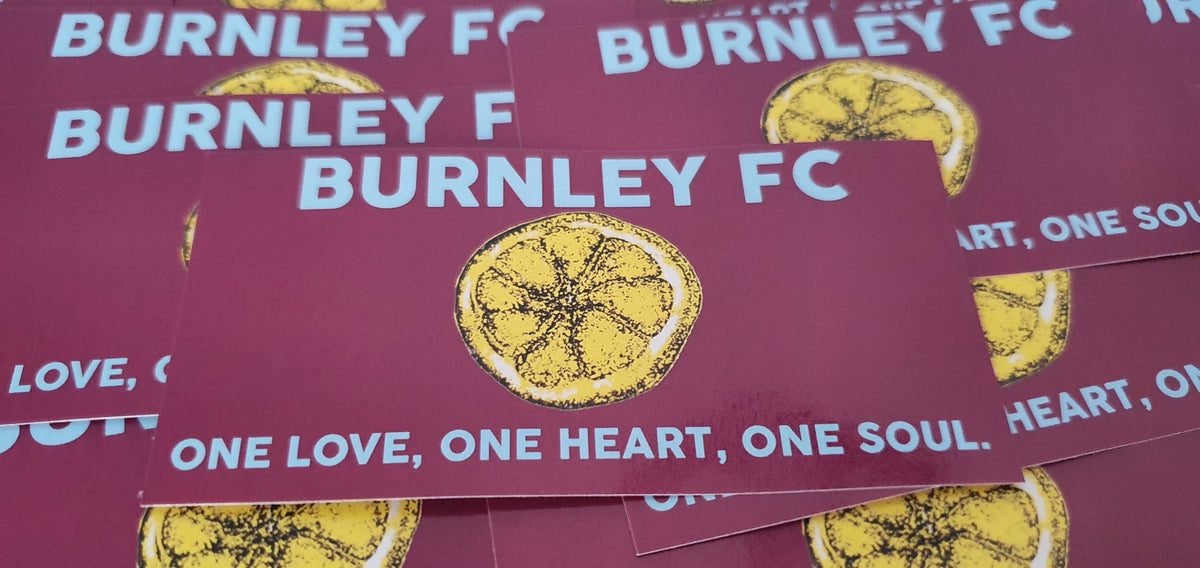 Pack of 25 10x5cm Burnley One Love football/ultras stickers.