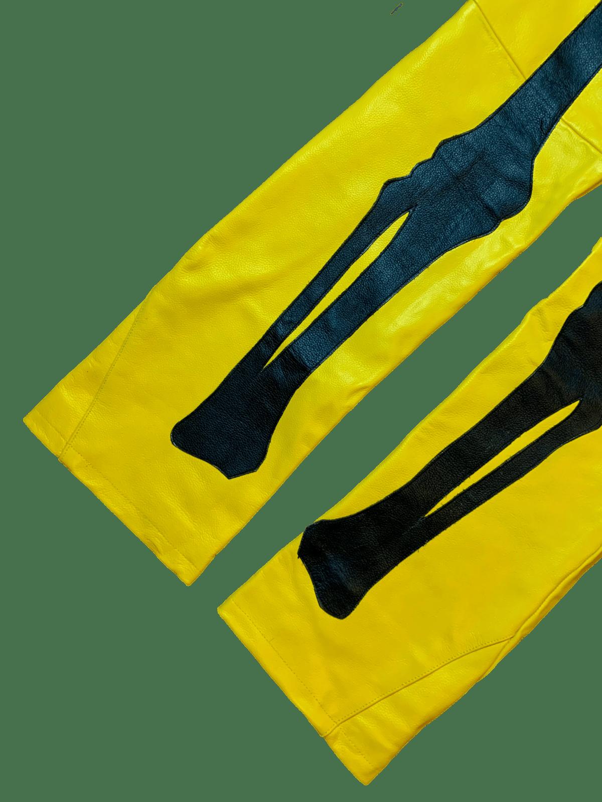 Image of BUMBLEBEE FLARED BONES LEATHER PANTS