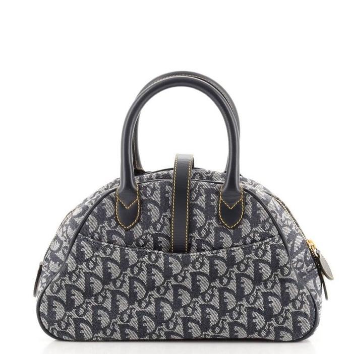 Image of DIOR Diorissimo Small Canvas Double Saddle Bowler Bag
