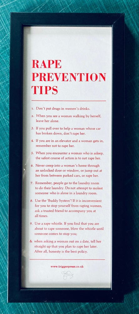 Image of Rape Prevention Tips – framed