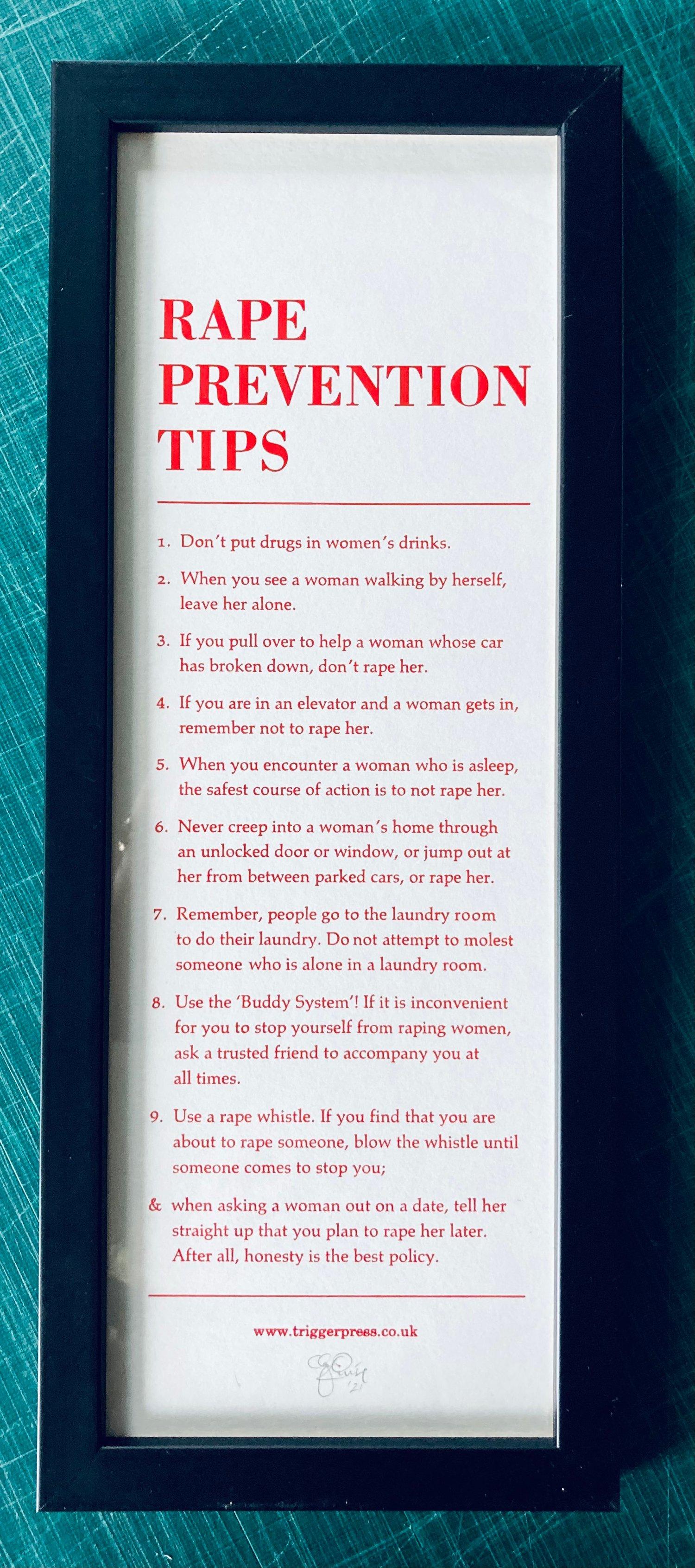 Image of Rape Prevention Tips – framed